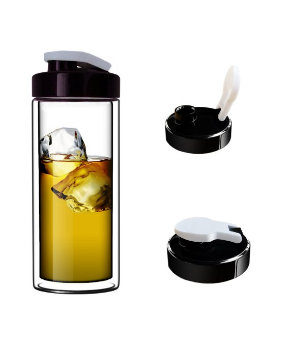 18oz Ultra Clear Double-Wall Glass Travel Mug With Flip-on Drinkhole Lid